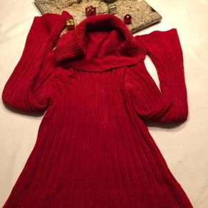 Chunky red turtleneck sweater with bell sleeves
